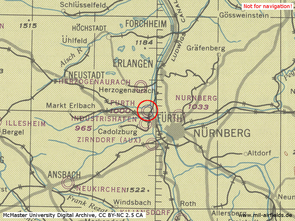 Atzenhof air base in World War II on a map 1944