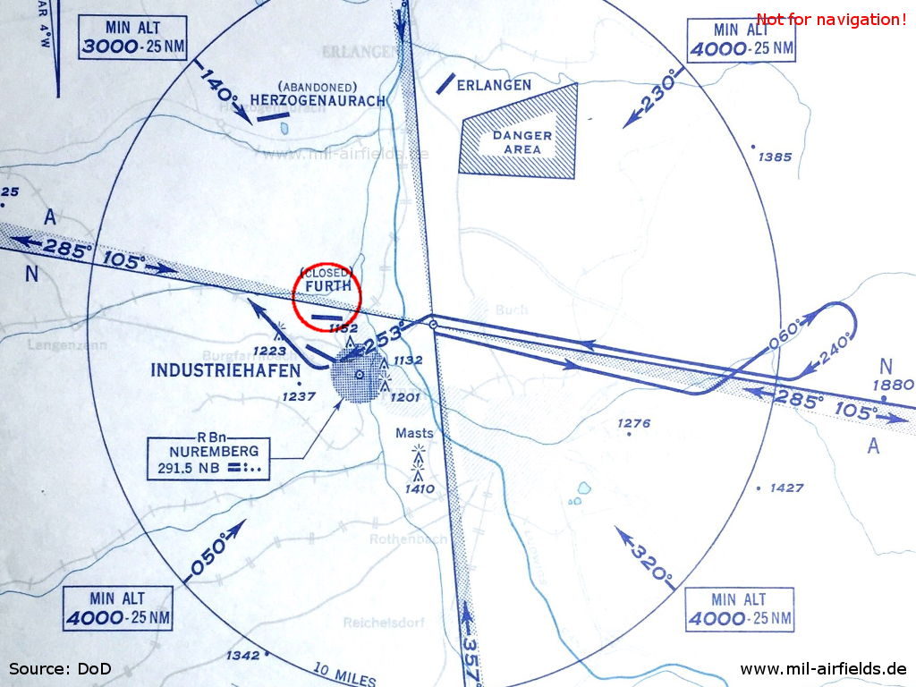 Approach chart for Fürth Industrieflughafen Airport 1952