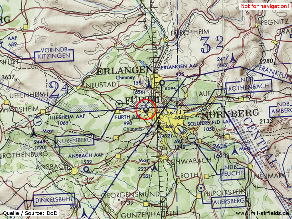 Fürth Army Airfield (AAF) on a map 1972