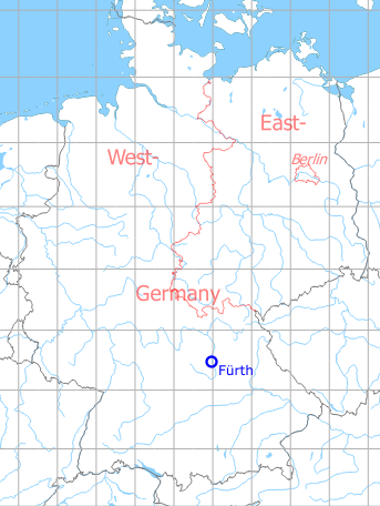 Map with location of Fürth Army Airfield AAF