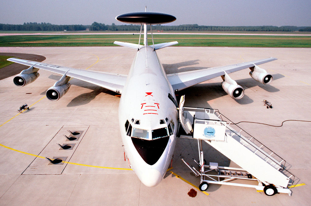 Airplane E-3A Sentry from the front, Geilenkirchen Air Base