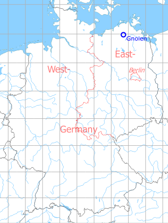 Map with location of Gnoien Airfield, Germany