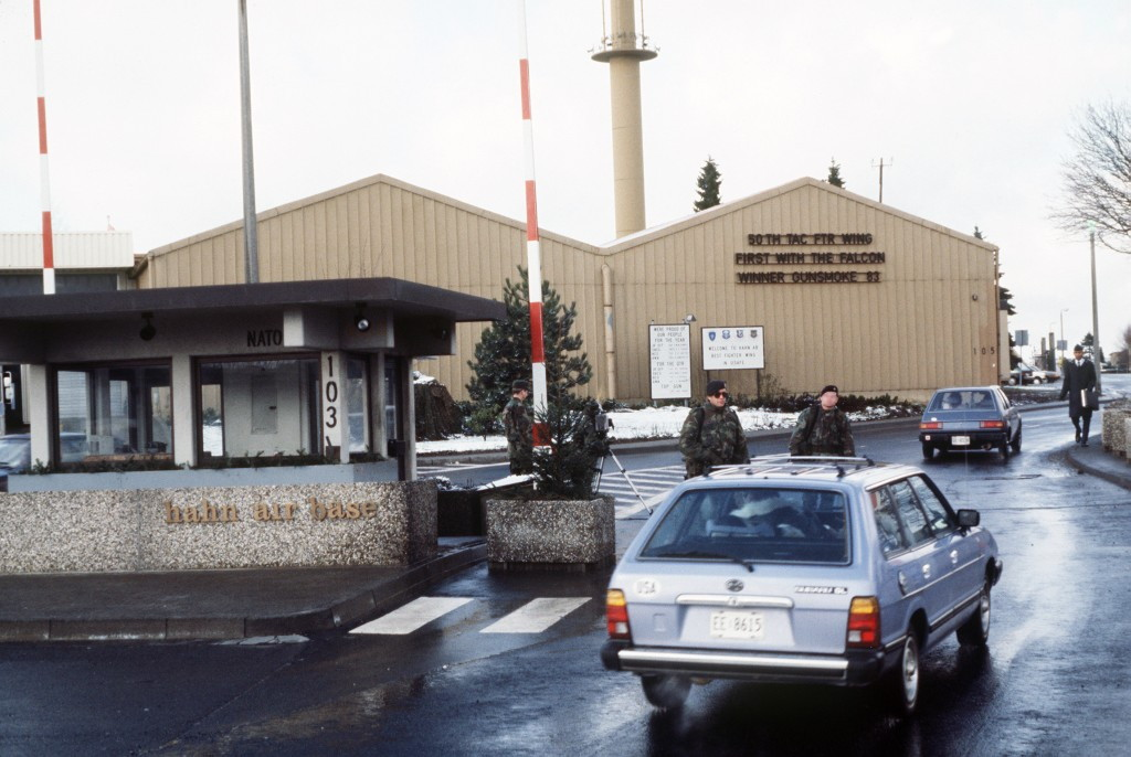 The front gate entrance to the Hahn Air Base, 1986