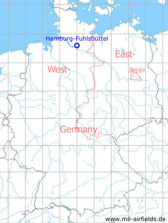 Map with location of Karte Hamburg-Fuhlsbüttel airport, Germany