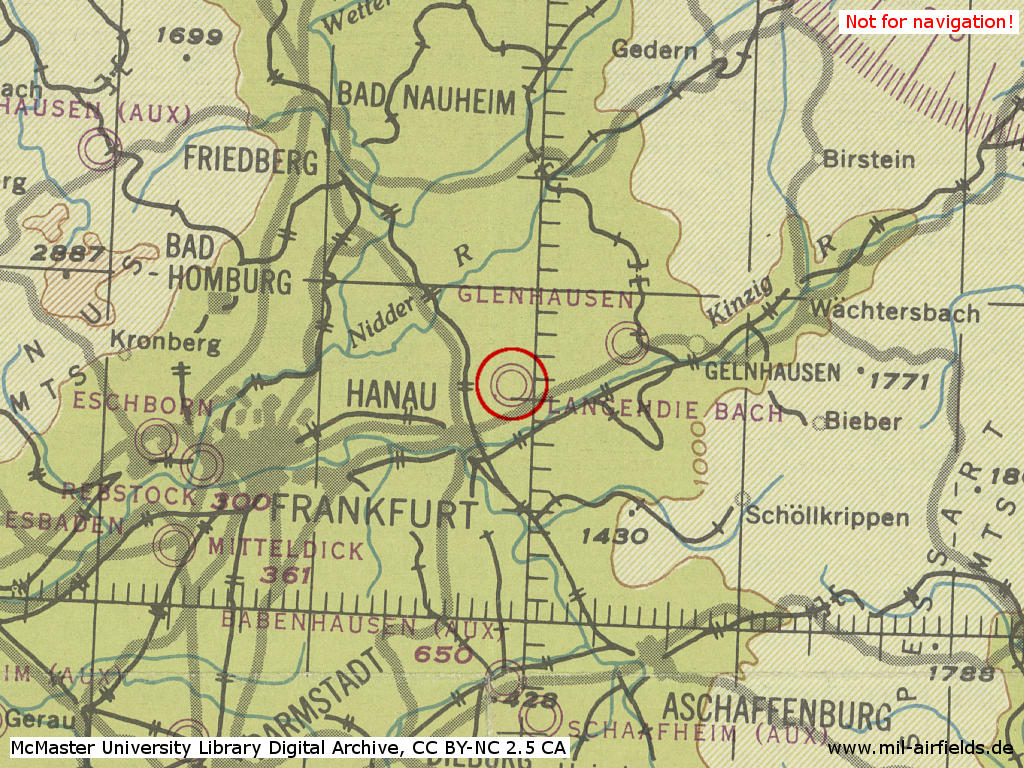 Hanau Air Base in World War II on map 1944