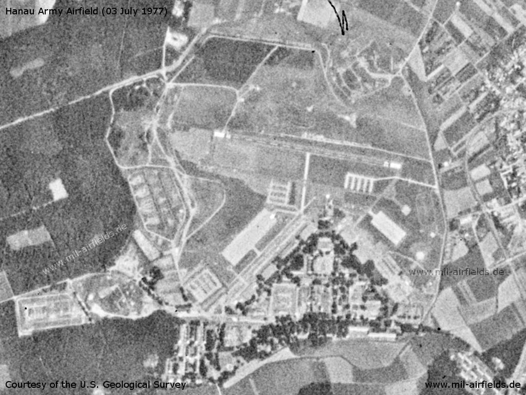 Hanau Army Air Field AAF, Germany, on a satellite image 1977
