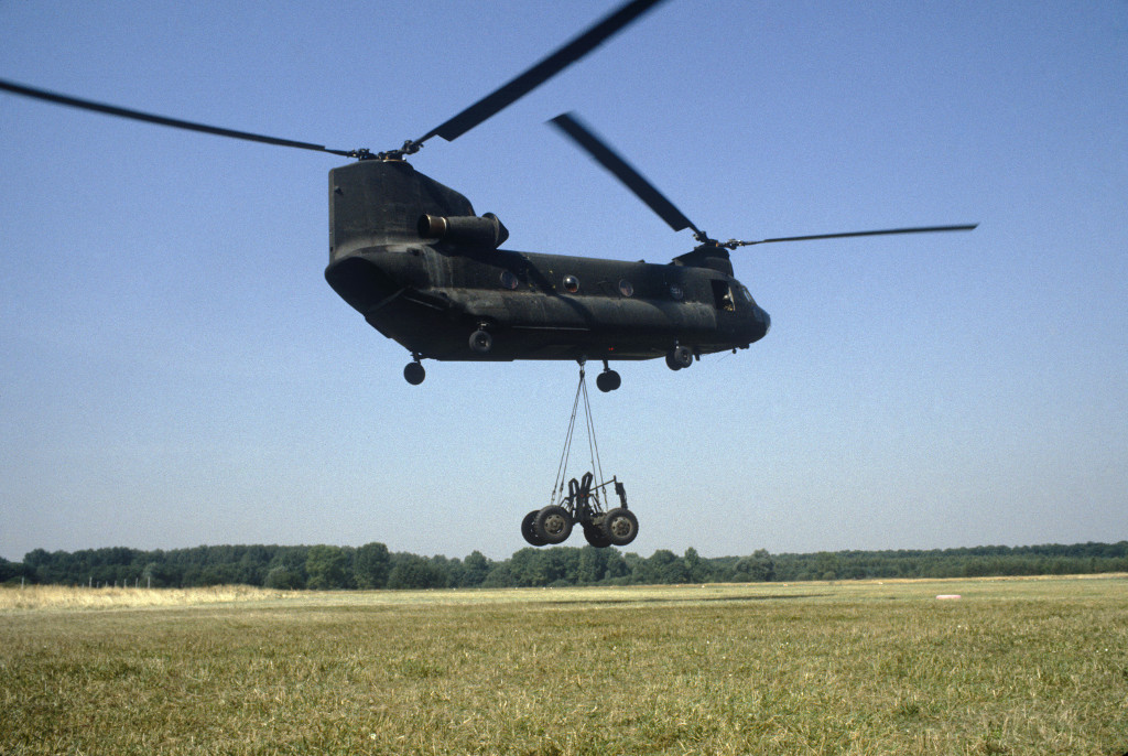 Craig M832 transporter is airlifted by a helicopter CH-47 Chinook