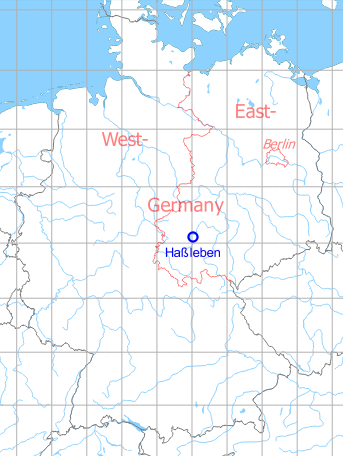 Map with location of Hassleben airfield, Germany