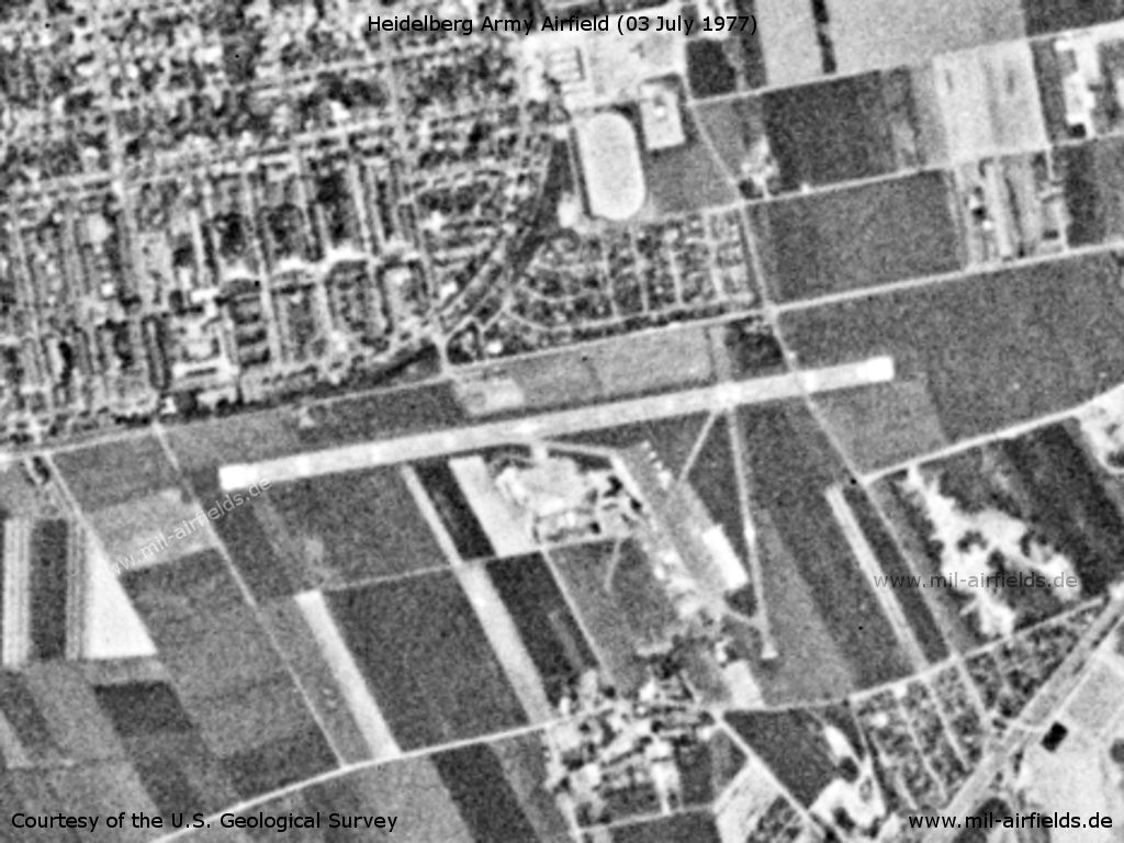 Heidelberg Army Air Field AAF, Germany, on a US satellite image 1977