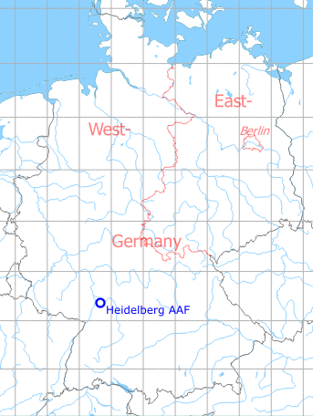 Map with location of Heidelberg Army Air Field AAF, Germany