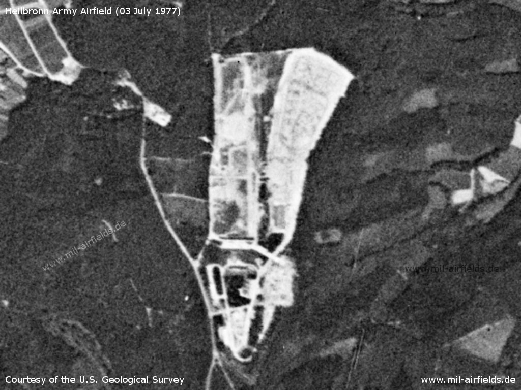 Heilbronn Army Airfield AAF, Germany, on a US satellite image 1977