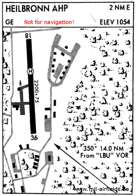 Map of Heilbronn Waldheide Army airfield and heliport