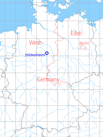 Map with location of Hildesheim Airfield, Germany