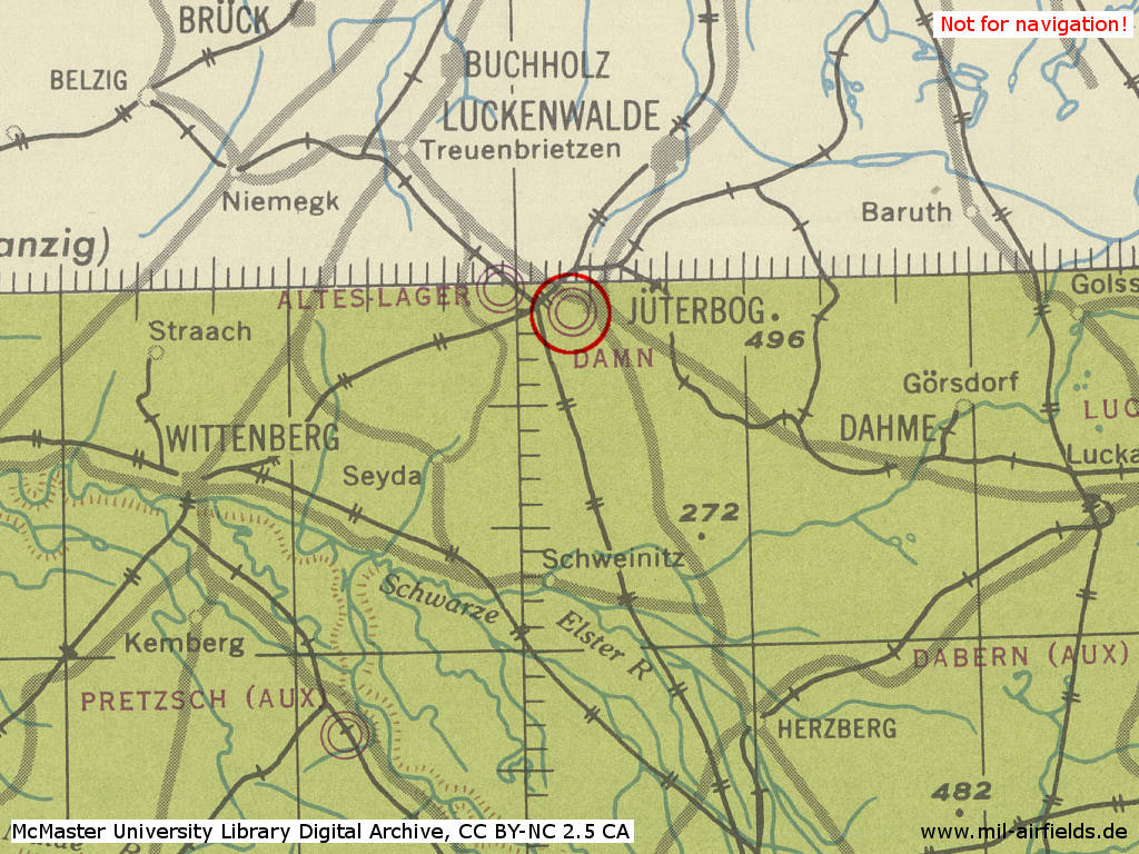Jüterbog Damm Air Base in World War II on a map 1943
