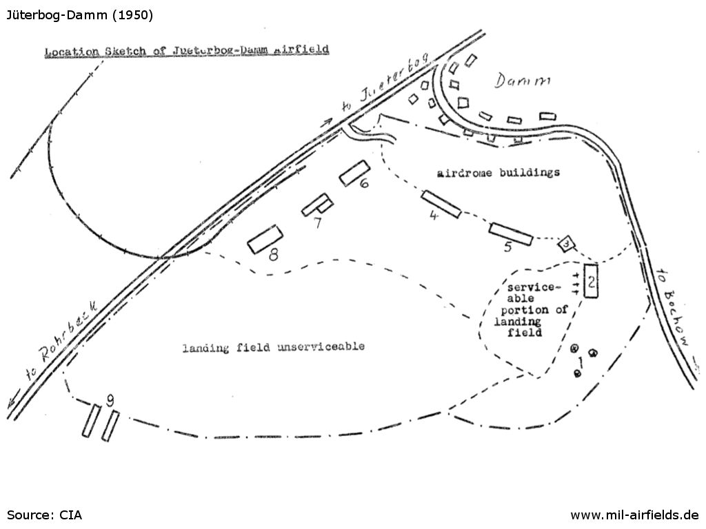 Map of the Soviet barracks at Juterbog-Damm in 1950