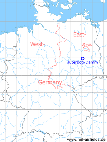 Map with location of Jueterbog-Damm Air Base, Germany