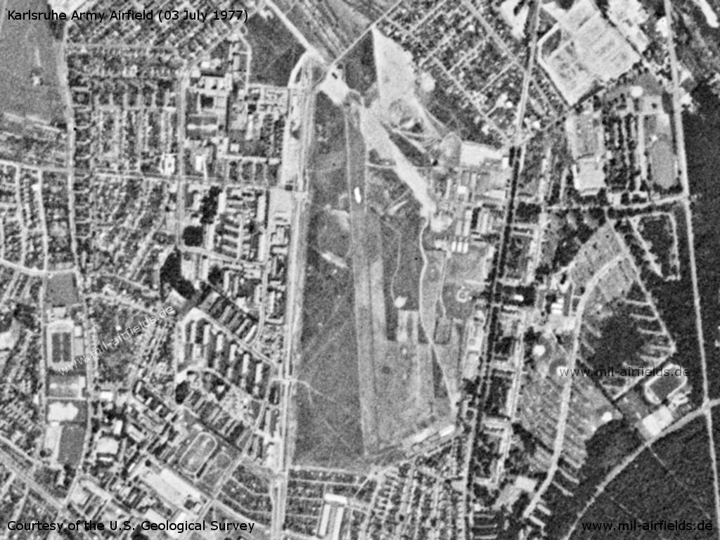 Karlsruhe Airfield, Germany, on a US satellite image 1977