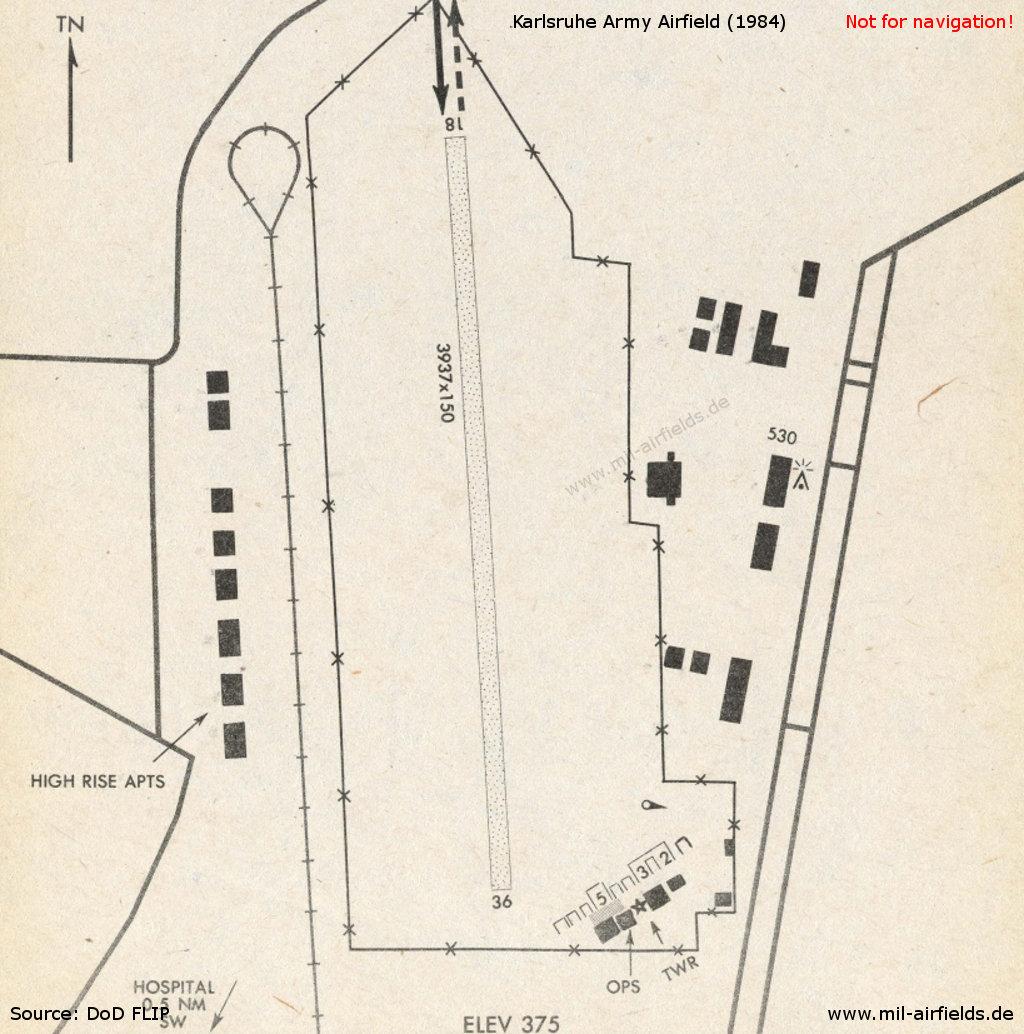Karte Karlsruhe.Flugplatz Karlsruhe Military Airfield Directory