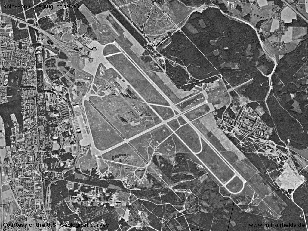 Köln-Bonn Airport, Germany, on a US satellite image 1976