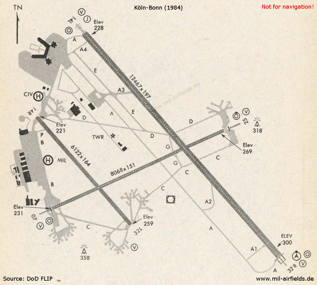Map of Cologne-Bonn airport 1984