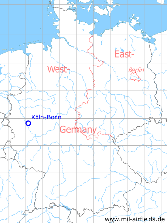 Map with location of Cologne Bonn airport
