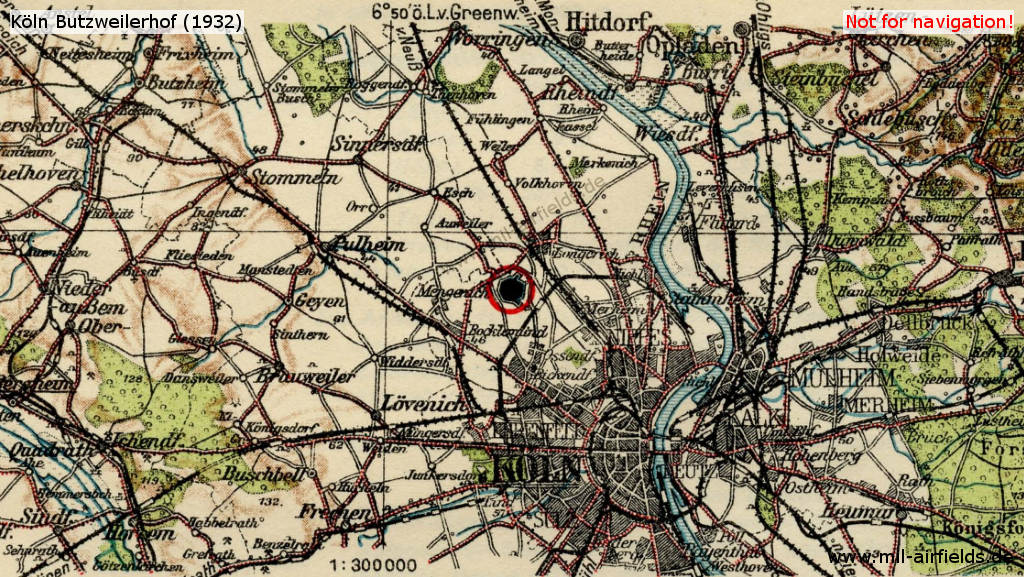 Map of Köln (Cologne) and vicinity in 1932