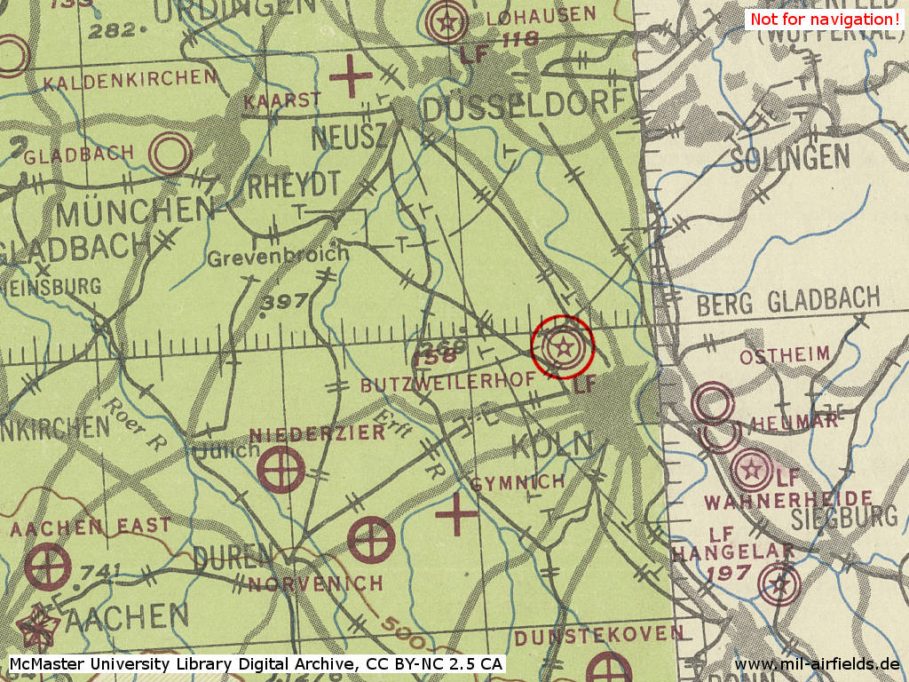 Map of Cologne Butzweilerhof airport in World War II