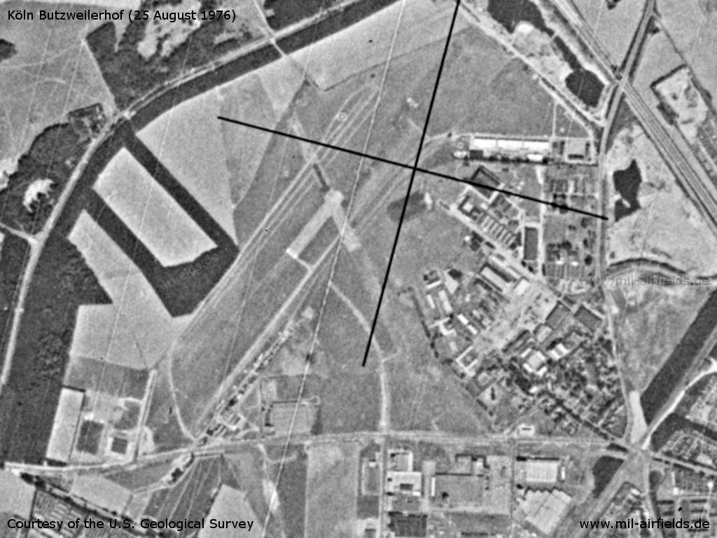 Cologne Butzweilerhof Airfield, Germany, on a US satellite image 1976