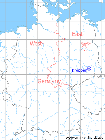 Map with location of Surface-to-Air Missile Unit 313 Kroppen, East Germany