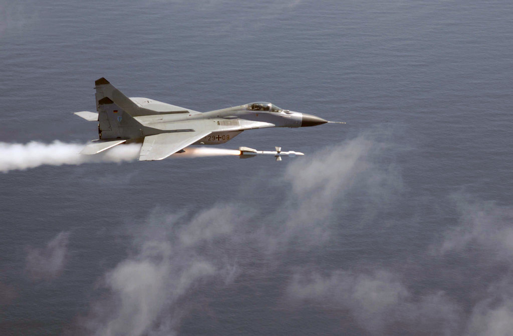 MiG-29 Fulcrum of German Air Force fires a air-to-air missile AA-10 Alamo
