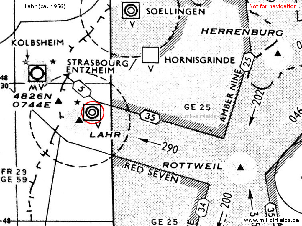 French air base Base aérienne 139 Lahr on a map 1956.