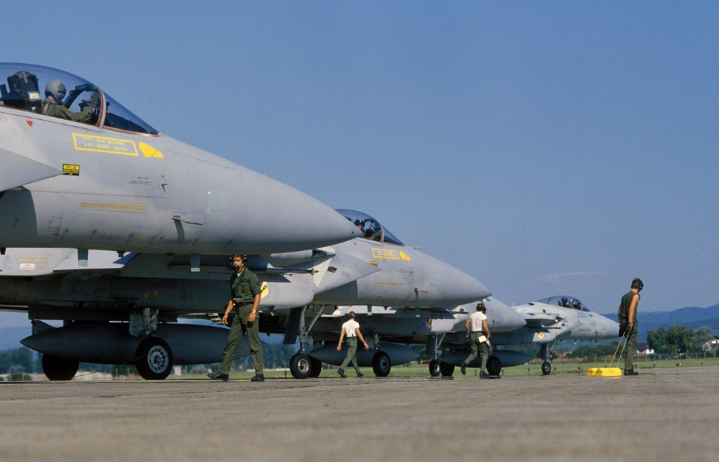 US Air Force F-15 Eagle of the 7th Tactical Fighter Squadron at Lahr Air Base Germany