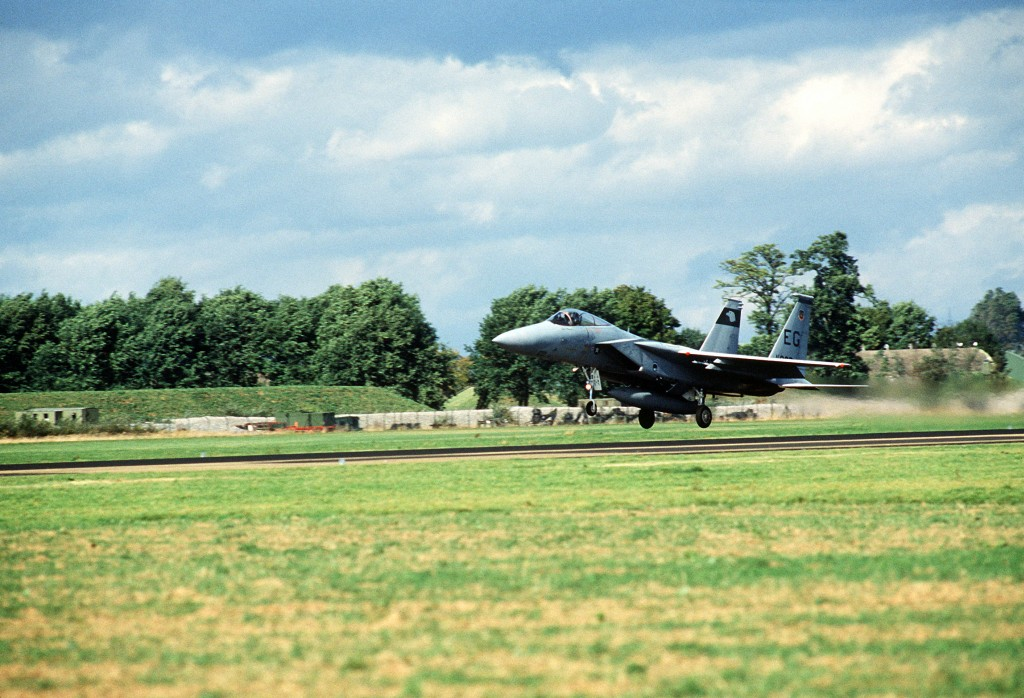 F-15 Eagle aircraft of the 60 TFS takes off at Lahr Airfield