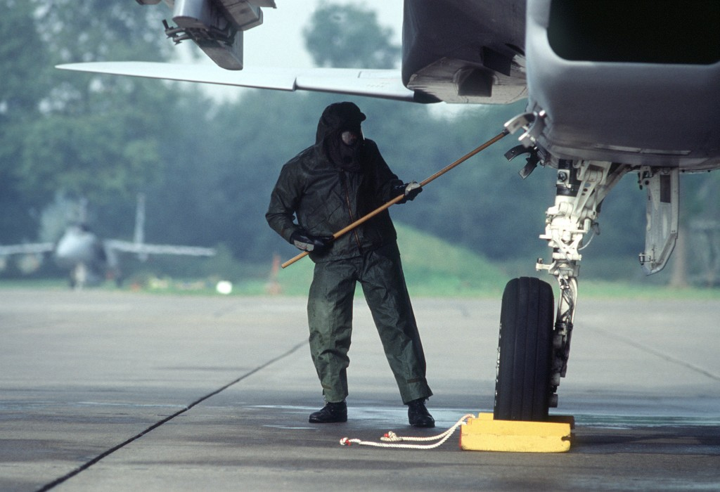 Decontamination of an aircraft F-15 at Lahr, Germany