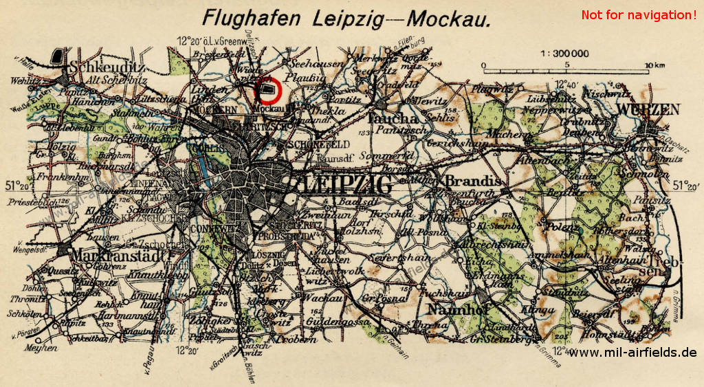 Leipzig Mockau Airport on a map from 1928
