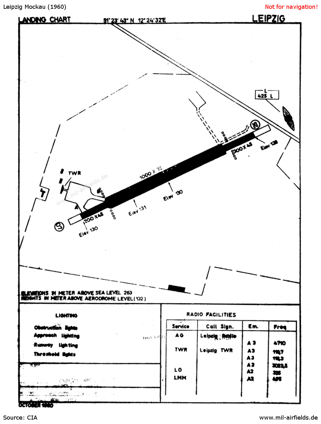 Chart of Leipzig Mockau Airport from 1960