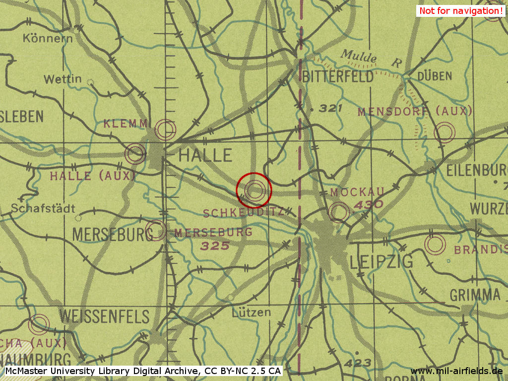 Halle-Leipzig Schkeuditz Airport in World War II on a map 1944