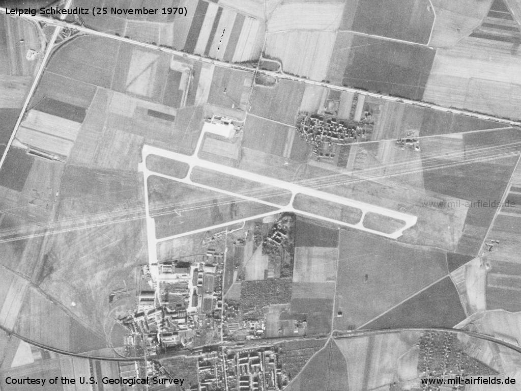 Leipzig Schkeuditz Airport, East Germany / GDR, on a US satellite image 1970