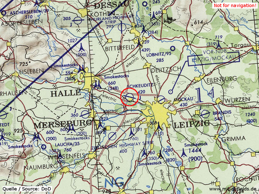 Leipzig Schkeuditz Airport, East Germany, on a map 1973