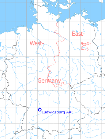 Map with location of Ludwigsburg Army Airfield AAF