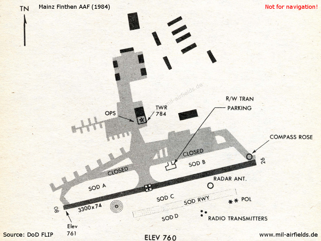 Finthen Army Airfield on a map in 1984