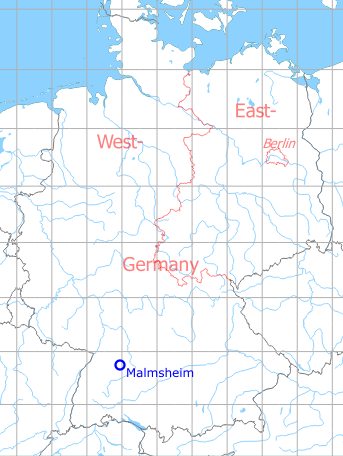 Map with location of Malmsheim airfield