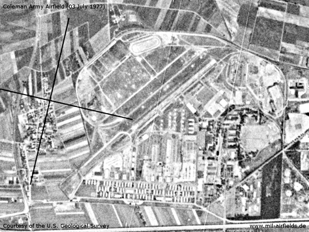Mannheim Coleman Army Airfield AAF, Germany, on a US satellite image 1977