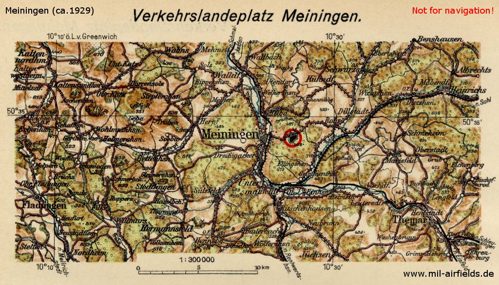 Map with Meiningen airfield, Germany.
