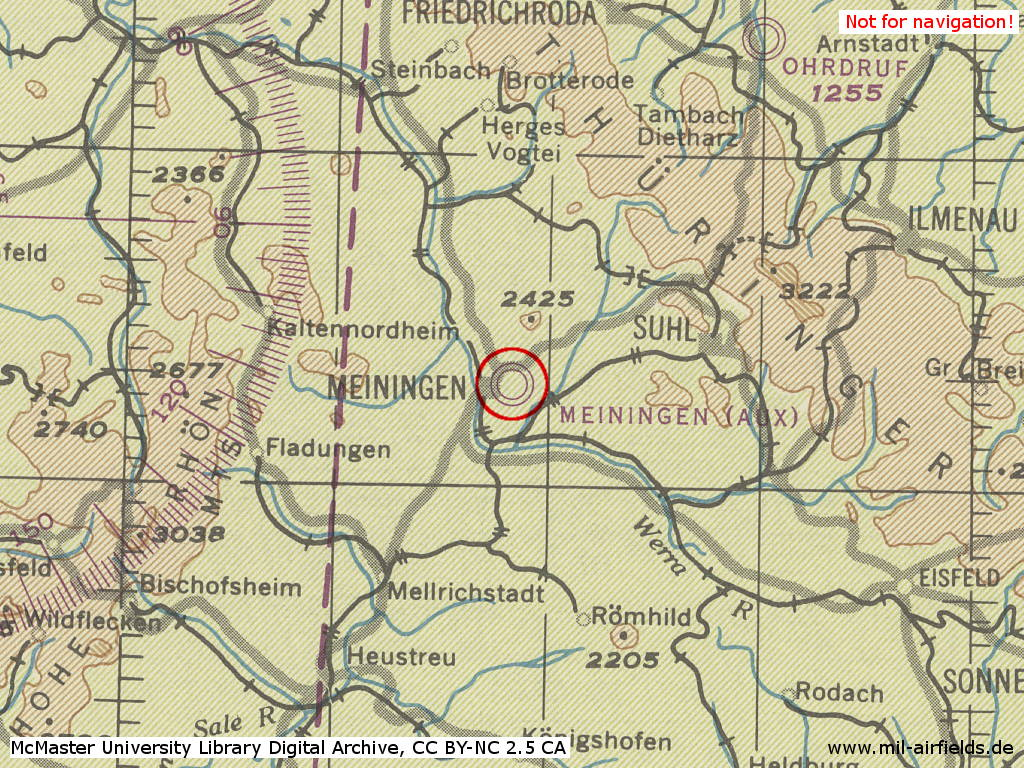 Meiningen Airfield / Heliport, Germany, on a map 1944