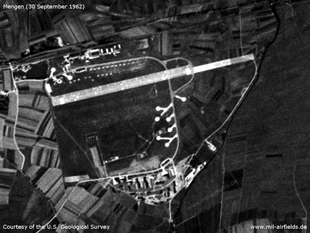 Mengen Airfield, Germany, on a US satellite image 1962