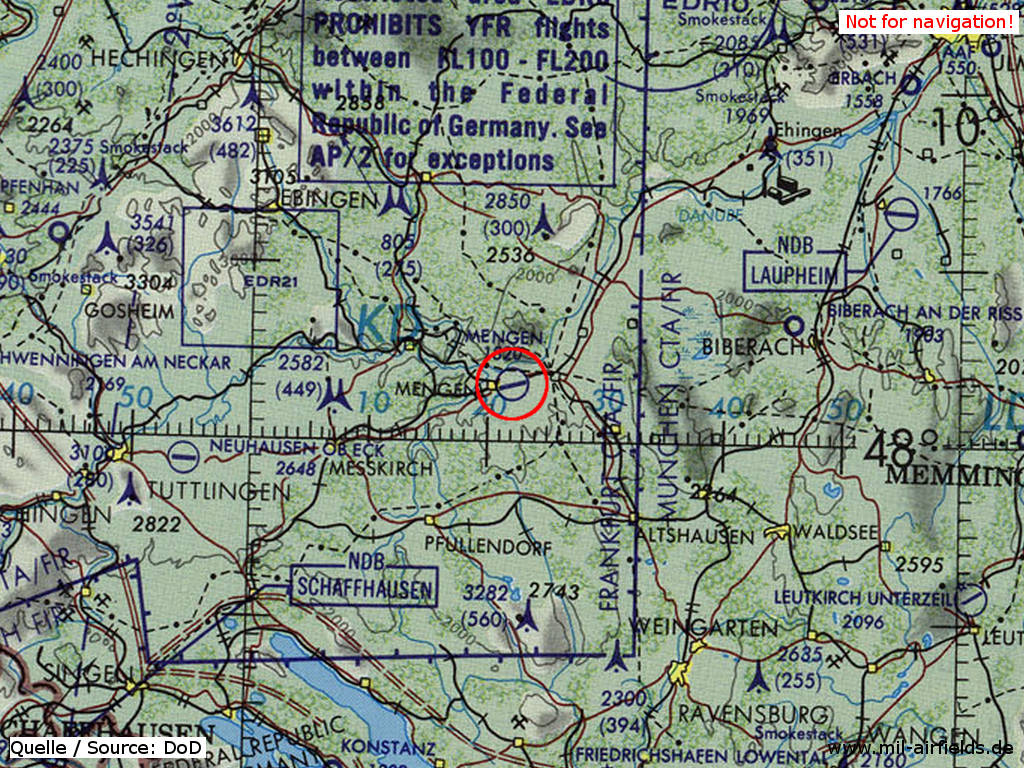 Airspace on a map from 1981