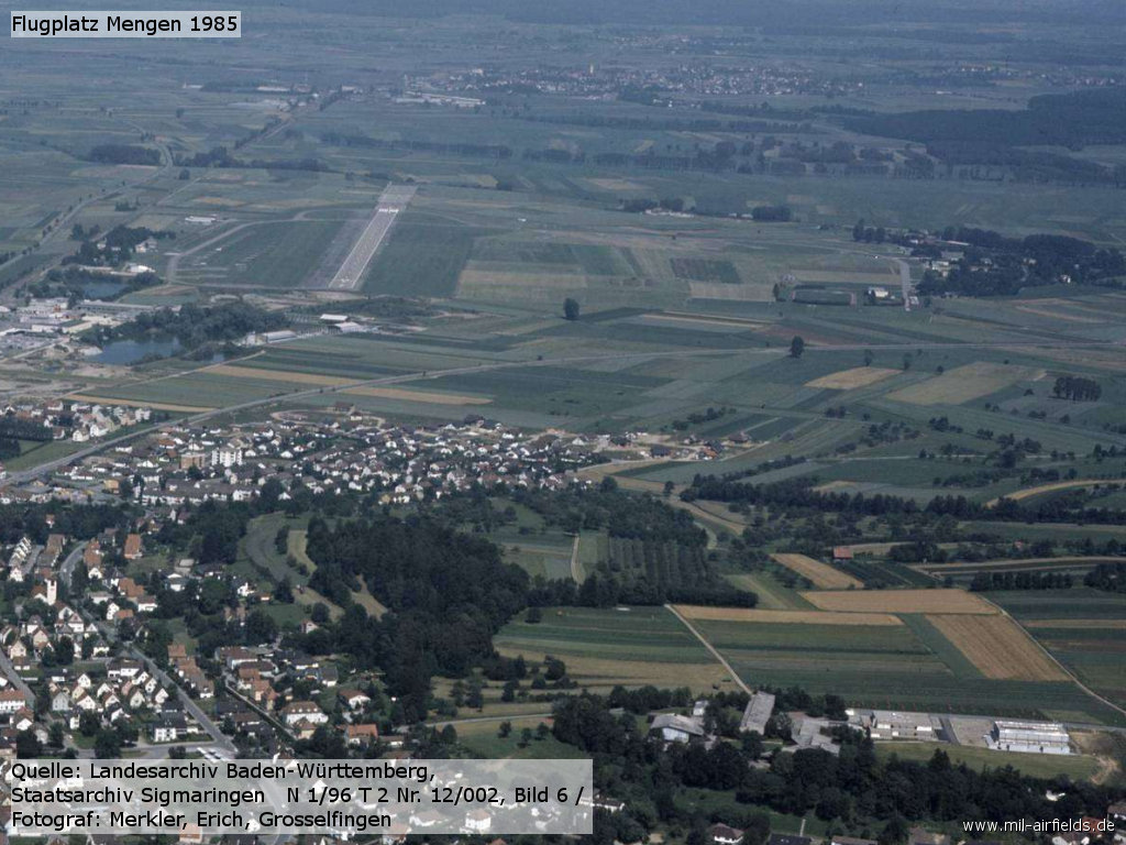 Aerial picture of Mengen airfield in 1985