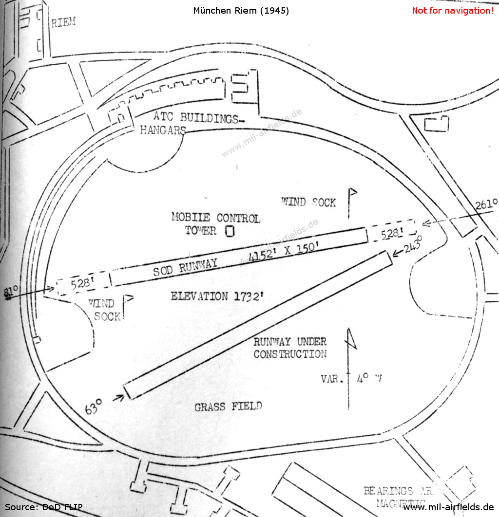Munich riem airport military airfield directory map of munich riem 21 july 1945 ccuart Image collections
