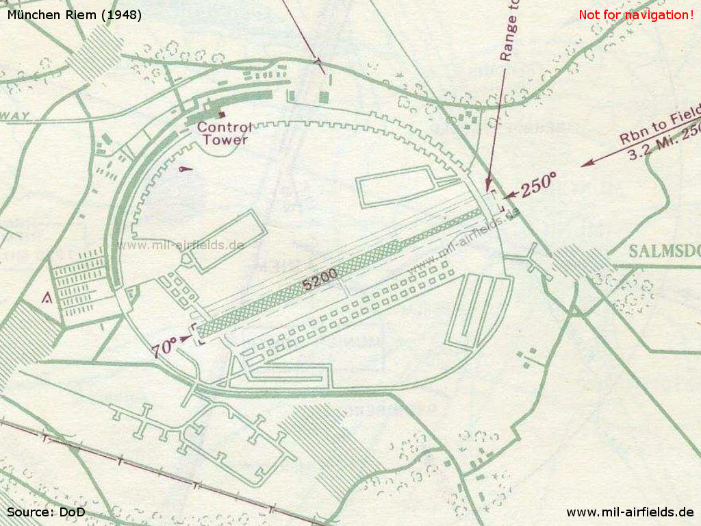 Chart of Munich Riem airfield in 1948